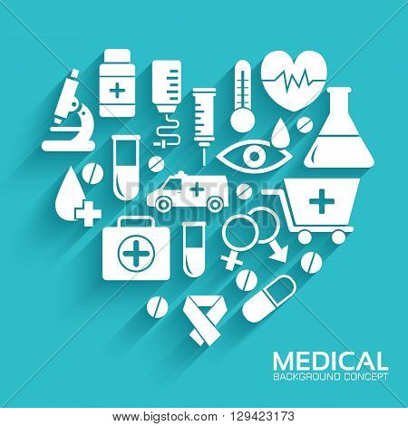 Medical Equipment Set In Shape Heart Icons
