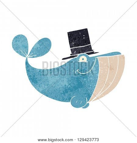 freehand retro cartoon whale wearing top hat