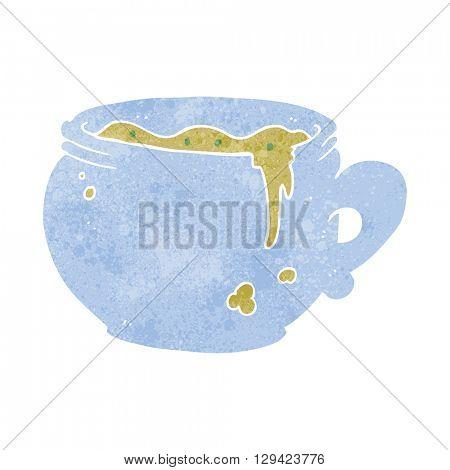 freehand retro cartoon mug of soup