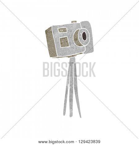 freehand retro cartoon camera on tripod