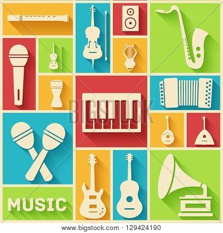 Retro Flat Music Instruments Icons Pictograms