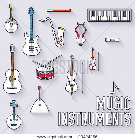 Thin Lines Outline Music Instruments Icons Pictograms
