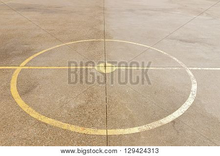 close up of soccer center court and basketball