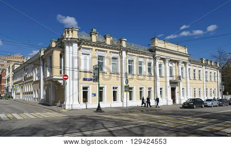 MOSCOW, RUSSIA - APRIL 24, 2016: Manor house of General Orlov (V.A. Obrezkova) Prechistenka street house 10/2 end 18th century now in the building are the International Association of Peace Foundation and the Committee for Peace and Cooperation