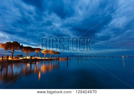 Peninsula of Garda lake landscape from Sirmione town Italy