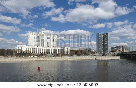 MOSCOW, RUSSIA - APRIL 24, 2016: Panorama of Moscow view of the House of the Government of the Russian Federation and the building of the Department of Media and advertising in Moscow the former Comecon Novy Arbat 36