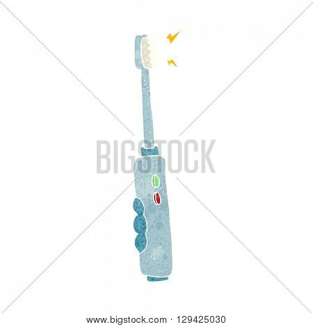 freehand retro cartoon buzzing electric toothbrush