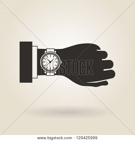 icon hand wristwatch on a light background