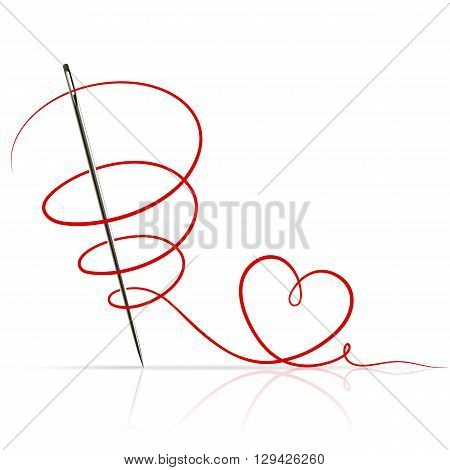 sewing needle with red thread on white background