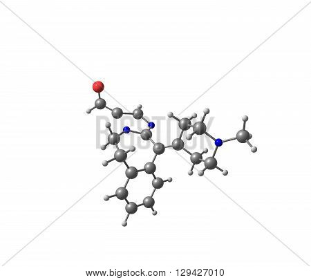 A model of Alcaftadine or Lastacaft, an antihistamine drug. 3d illustration