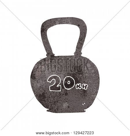 freehand retro cartoon 20kg kettle bell