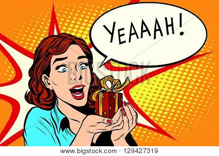 Gift girl happy wedding birthday pop art retro style. The emotion reaction of joy. Red gift box