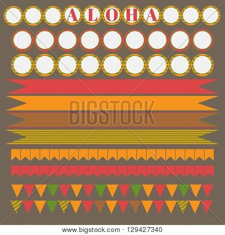 Printable set of hawaii party elements. Templates and labels icons flags and wraps.