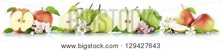 Apple And Pear Collection Apples Pears Fruit Fruits Isolated On White