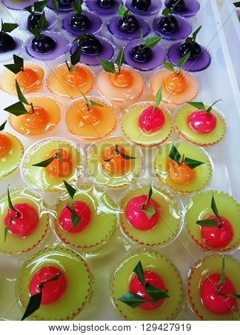 Thai Sweet Bean Confections plating in Coconut Sweet Pudding Jelly (Thai Dessert of Kanom Look Choup nai Wun Kati)
