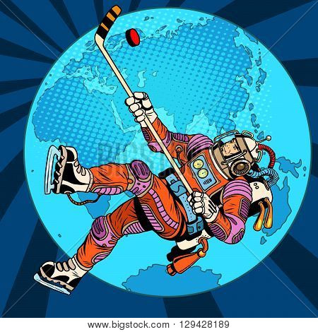 Astronaut plays hockey over planet Earth pop art retro style. Championship of the world. The world Cup. Wintersports. Winter games