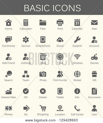 Basic web icons. Modern vector pictogram