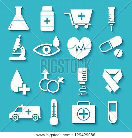 Flat Medical Equipment Set Icons Concept