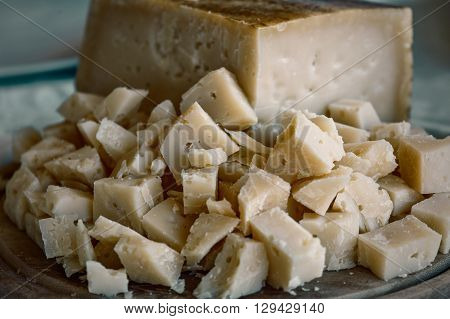 portion of Pecorino cheese. Italian genuine food. Vintage effect ** Note: Visible grain at 100%, best at smaller sizes