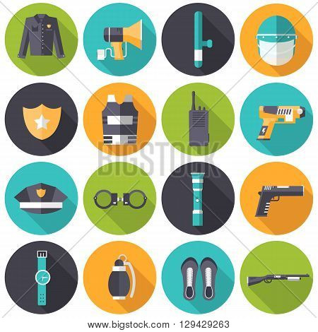 Police Uniform And Set Protection Icons On Isoleted Background. Flat Style Bright Concept. Vector Il