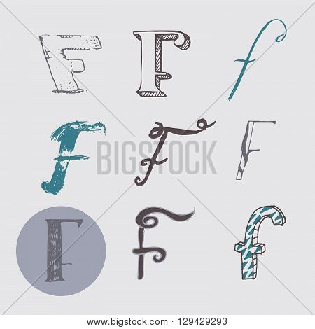 Original letters F set isolated on light gray background. Alphabet symbols editable hand drawn creative in different variations Italic 3d freehand drawn with brush and nib vector Illustration