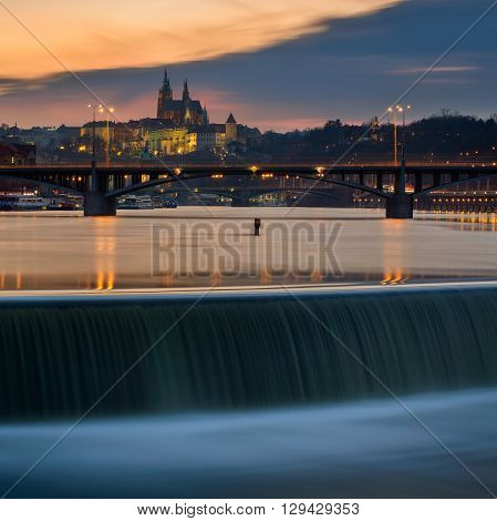 Majestic St. Vitus Cathedral view from Vltava river Prague Czech republic