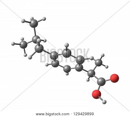 Ibuprofen is a nonsteroidal anti-inflammatory drug used for relieving pain alleviating fever and reducing inflammation. 3d illustration