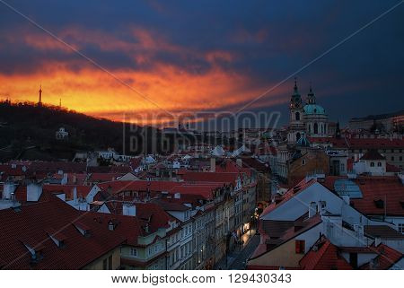 Lesser Town and Tower of St Nicholas Church Prague Czech republic.