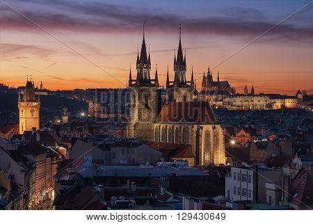 Majestic St. Vitus Cathedral and Church of Our Lady before Tyn Prague Czech republic