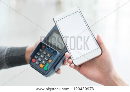 Customer pay by cellphone with empty screen great for your design