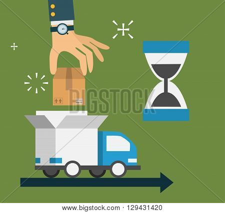 modern creative flat style concept design, delivery service, cardboard boxes, hand puts parcel in the car. Vector illustration EPS10