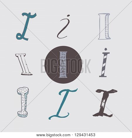 Original letters I set isolated on light gray background. Alphabet symbols editable hand drawn creative in different variations Italic 3d freehand drawn with brush and nib vector Illustration