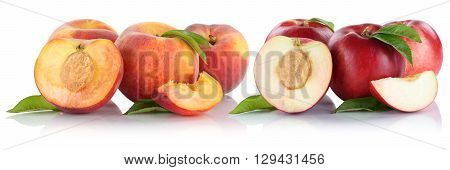 Peach Nectarine Peaches Nectarines Slice Half Fruit Fruits Isolated On White