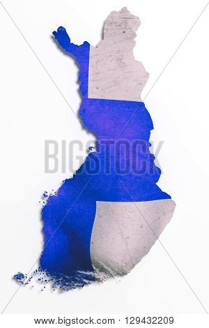 Silhouette Of Finland Map With Flag