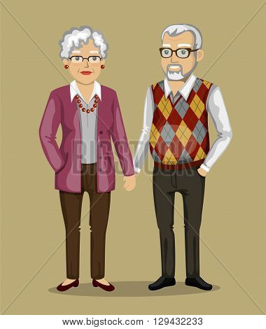 old people in business suits.  Vector illustration in a flat style.