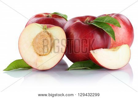 Nectarine Nectarines Slice Half Fruit Fruits Isolated On White