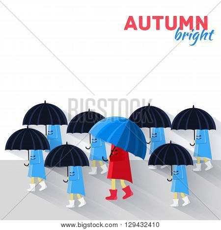 People With Umbrella In A Autumn Raining Day