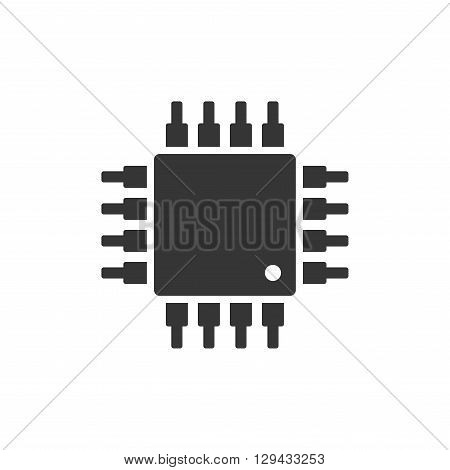 Chip CPU Microprocessor Icon on White Background. Vector illustration