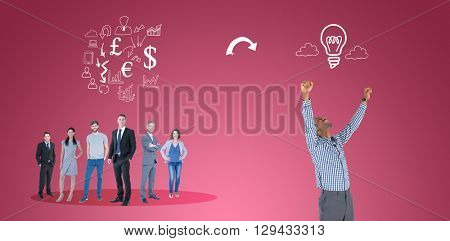 Excited businessman cheering against red vignette