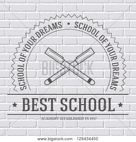 back to school logo or template on a white brick wall. Vector illustration with thin lines isolated icon for your product or design web and mobile applications with