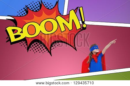 Masked girl pretending to be superhero against the word boom