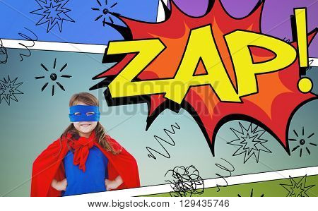 Masked girl pretending to be superhero against the word zap