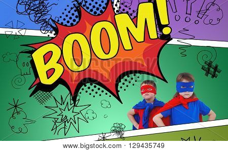 Masked kids pretending to be superheroes against the word boom