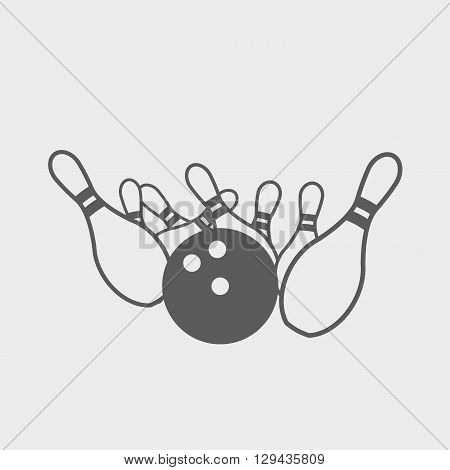 Vector Black And White Sign Or Symbol Illustration Of Bowling. Bowling Ball Knocks Down Pins.