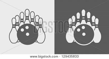 Vector Bowling Pins And Bowling Ball. Set Of Icons Or Signs On Dark And Light Background