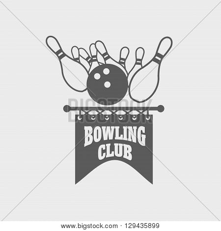 Bowling Club Logo Template. Bowling Ball And Pins Design Element, Label, Badge Or Emblem.