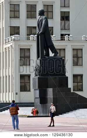 Minsk, Belarus, Lenin Statue Near Parliament Building