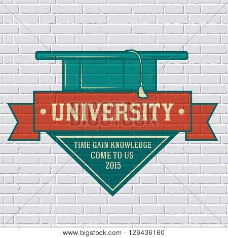 University Logo Or Label Template  With Blurred Background On Brick Wall. Vector Illustration With S