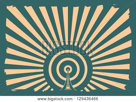 Wi Fi Network Symbol . Mobile gadgets technology relative vector image. Sun rays background