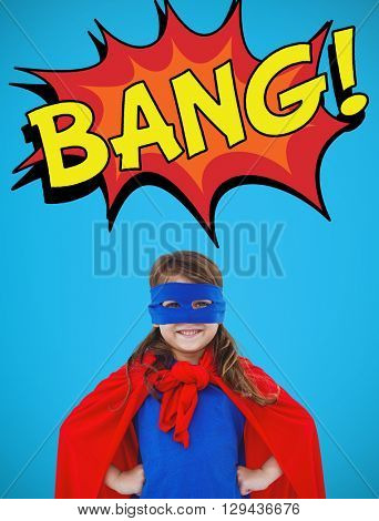 Masked girl pretending to be superhero against a view of a blue sky